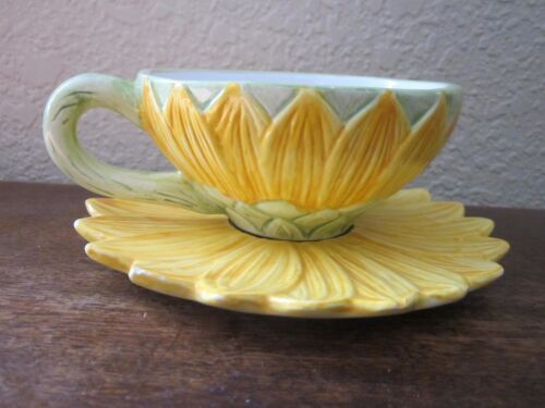 Seymour Mann, Inc Sunflower Hand Painted Plate and Cup
