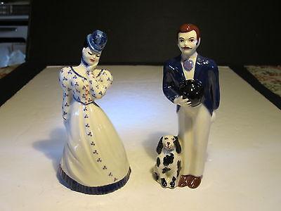 CAS Ceramic Arts Studio Gay 90's Couple With Dog Figurines