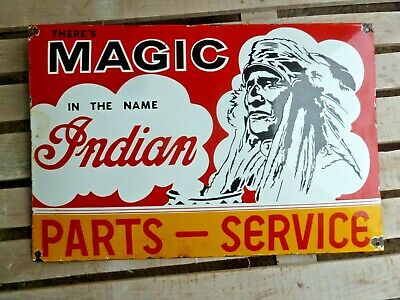 INDIAN Porcelain Sign Heavy Vintage Motorcycle Advertising 24 Inches Old Chief