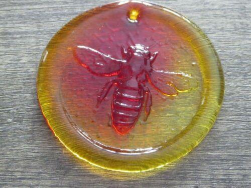 Blenko Glass Suncatcher-  Bee design in tangerine