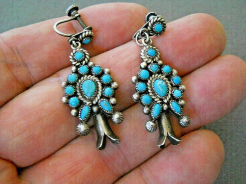 Old Native American Turquoise Sterling Silver Squash Blossom Earrings