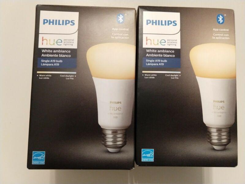 Philips - Hue White Ambiance A19 Bluetooth Smart LED Bulb (2-Blubs)