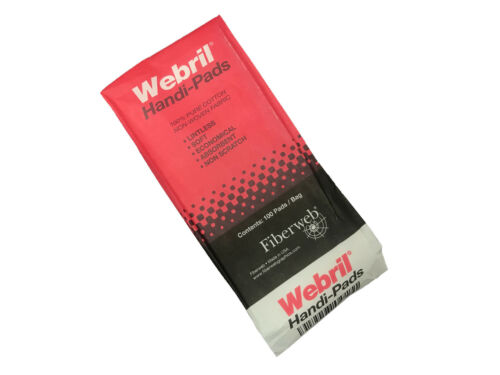 WEBRIL 4 x 4 Pure Cotton HANDI PADS 100 Per Bag Offset Printing Accessories