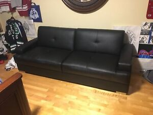 Real leather couch, turns into bed