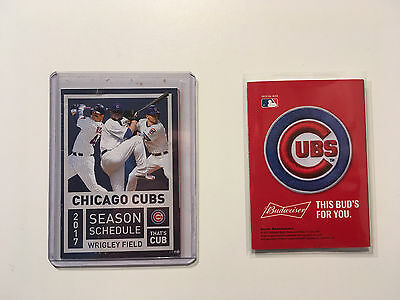 Mlb 2017 Chicago Cubs  Pocket Schedule 2016 World Champions   Budweiser   New