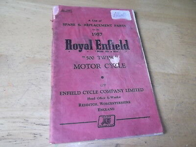 ROYAL ENFIELD 1957 500 TWIN RE SPARE PARTS HANDBOOK MANUAL CLASSIC VINTAGE BIKE