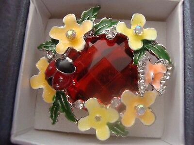 Ladybug White Ring (J24 Butterfly & Ladybug Ring W/White Austrian Crystal Silvertone SIZE)