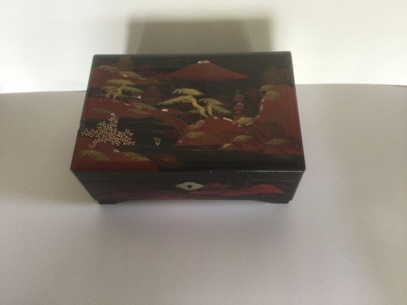 Vintage Japanese Black Lacquer Musical Jewelry Box