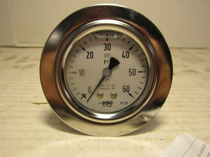 "U.S Gauge 656210AT4CD3B0G Liquid Filled Pressure Gauge, 0 to 60 psi, 2-1/2"" Dial"