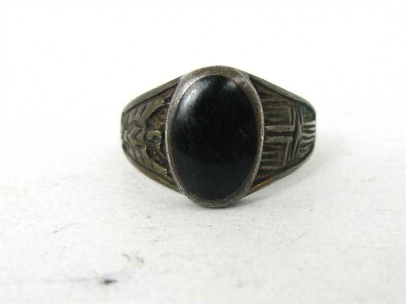 Vintage Sterling Silver Navajo Natural Black Onyx Cross Bird Mens Ring 9.1g B22