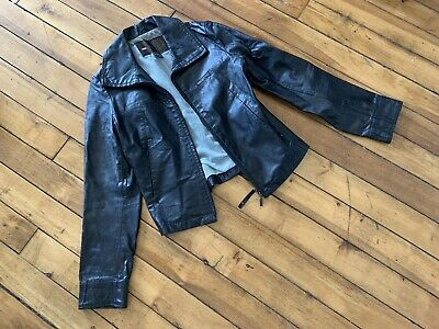 Vintage DIESEL Leather Jacket S Medium Womens Moto Motorcycle Coat Fitted Pocket