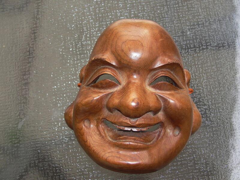 Hotei Buddhist Monk Carved Wood Mask Signed