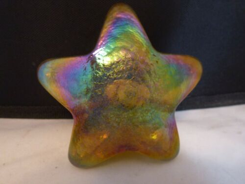 Vintage Robert Held Gold Iridescent  5-Point Star Paperweight