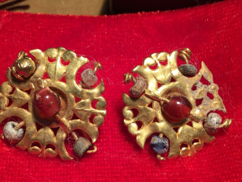 Ancient Persia -  AMLASH , 800BC , High Kt Gold + Stone EARRINGS . WEARABLE
