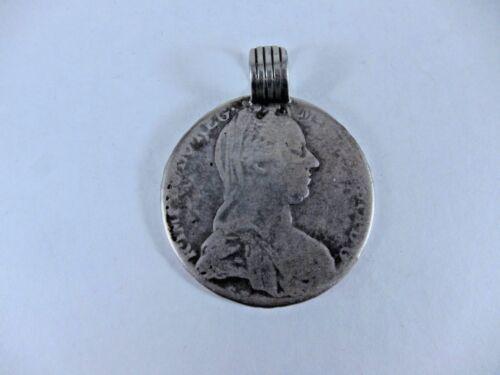 Antique Maria Theresa Thaler Silver Coin Pendant