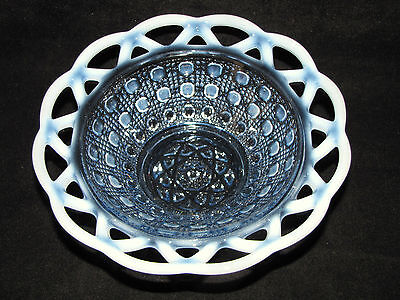 Laced Edge Blue OPALESCENT Bellied IMPERIAL Vintage NAPPY Dish