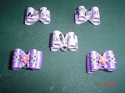 Pretty Purple Mix Show Style Dog Grooming Bows Mixed Centres