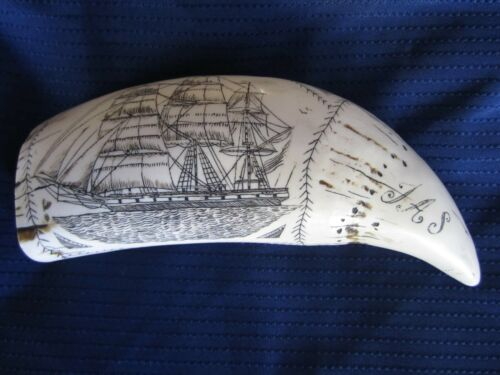 Faux Carved Scrimshaw of a Whale