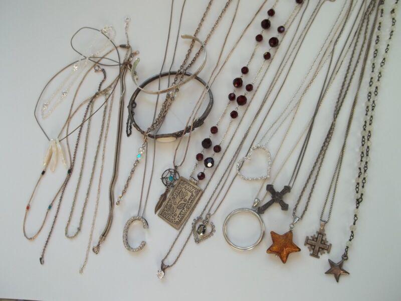 20 pc sterling silver necklace+bracelet lot,116g,beads,stones,vintage,modern,++