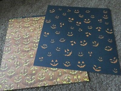 Scrapbooking Crafts 12X12 DS Paper Halloween Jack-O-Lanterns Glowing Faces - Halloween Paper Lanterns Crafts