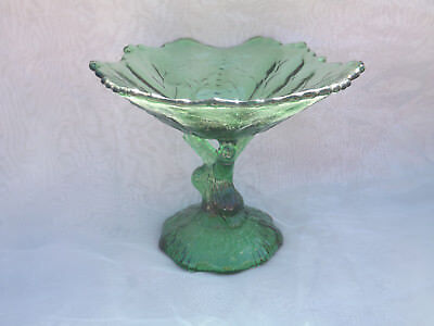 Portieux Vallerysthal Green Candy Footed Compote Open Tree Trunk Stem