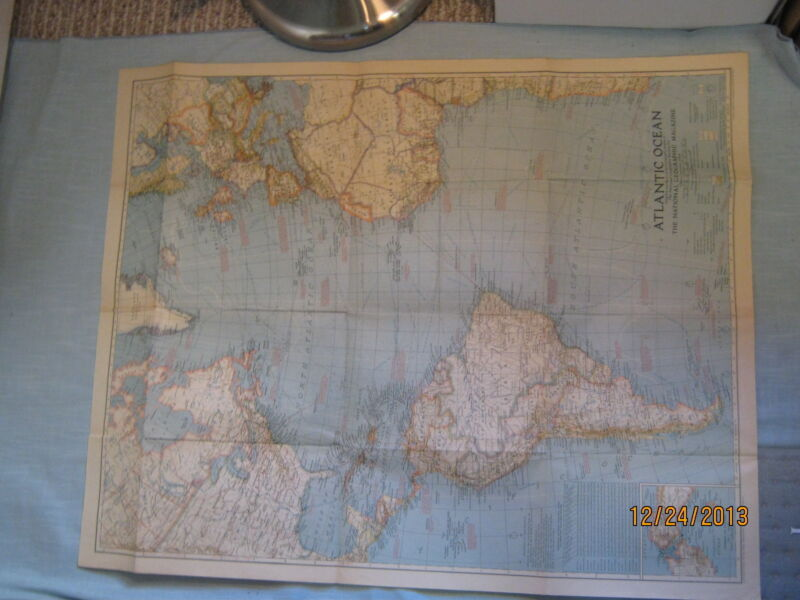 ANTIQUE ATLANTIC OCEAN WALL MAP National Geographic July 1939