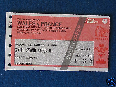 Rugby Union International Ticket - Wales v France - 25/9/96