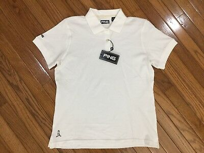 NWT Ping Women's White Golf Polo Shirt Top Blouse Size L MSRP $36 -
