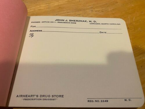 Vintage Prescription Pad – Collector's Item – John J. Smerznak MD – Concord NC
