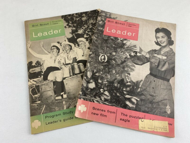 2 Vintage Girl Scout Leader Magazines, 1956 & 1959 Issues, Articles, Photos