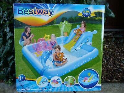 2.39mx2.06 BESTWAY Swimming Pool+Kid Paddling Toys+Inflatable Slide=Free UK Post