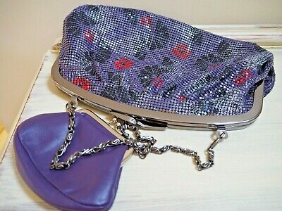 Purple metal mesh effect handbag Johnny Loves Rosie and purple leather purse