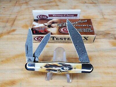 "CASE XX ""STAG"" POCKET KNIFE WHITTLER RAINDROP DAMASCUS ""5383WH DAM"" (2009)"
