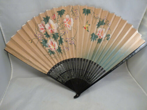 Vtg Hand Painted Oriental Asian HAND  Folding Hanging Wall Fan~ OLD