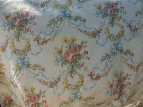 Beautifuf American Folk and Fabric Moss Pink Roses Ribbon Swags Ecru Cotton