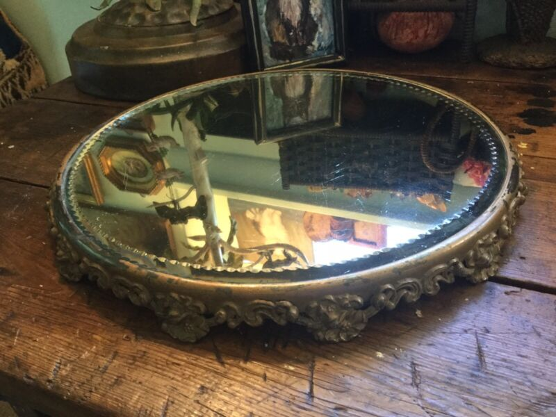 """Antique Victorian Gold Painted Footed Beveled Mirrored Plateau Tray 15"""" Floral"""
