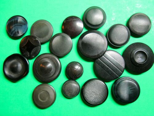 """(18) VINTAGE 3/4""""-1 1/8"""" BLACK VEGETABLE IVORY SHANK BUTTONS MIXED LOT (Y45)"""