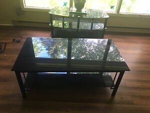 Black glass coffee table and t.v stand for a deal!!