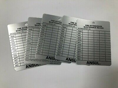 Lot Of 5 Metal Fire Extinguisher 10-year Inspection Tag Ansul Label No 4111