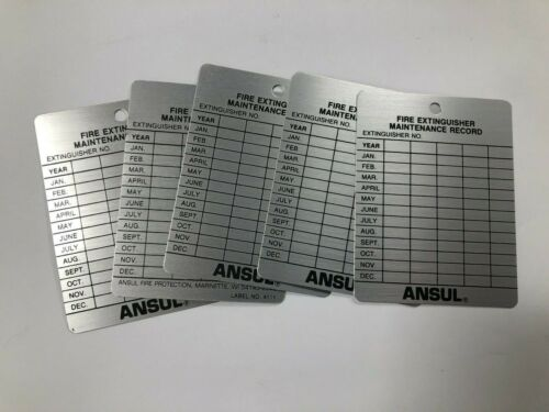 Lot of (5) Metal Fire Extinguisher 10-Year Inspection Tag, Ansul Label No 4111