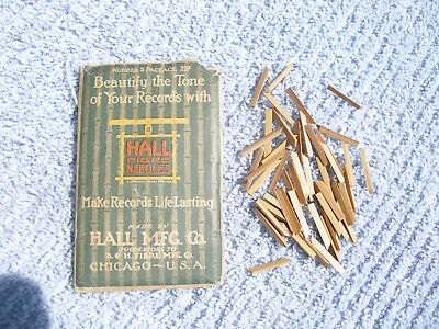 Antique 50 Bamboo Fibre Phonograph Victrola Gramophone Needles Hall Mfg Chicago