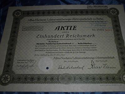863 : dt. Aktie / Wertpapier ,27. März 1925, Allba Nordstern Lebensversicherung