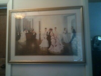 LARGE FRAMED PRINT BY J.J.TISSOT, CALLED    'TO EARLY'  .