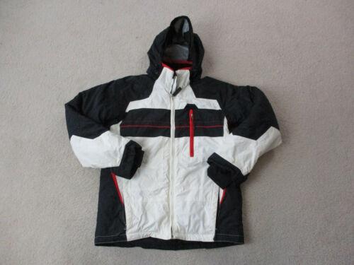 Obermeyer Jacket Youth Large White Black Outdoors Full Zip Coat Kids Youth *