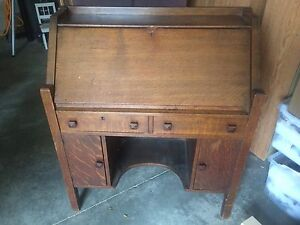 "Antique secretary 36""x16""x42.5"". Quarter cut Oak."