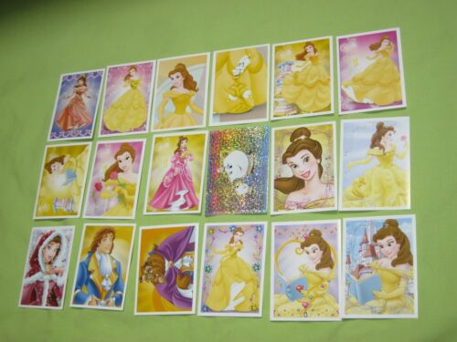 PANINI Disney PRINCESS STYLE 18 TRADING CARDS &Sticker Decals BELLE Beauty Beast