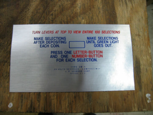 Seeburg 3W1 instruction plate DECAL NOS