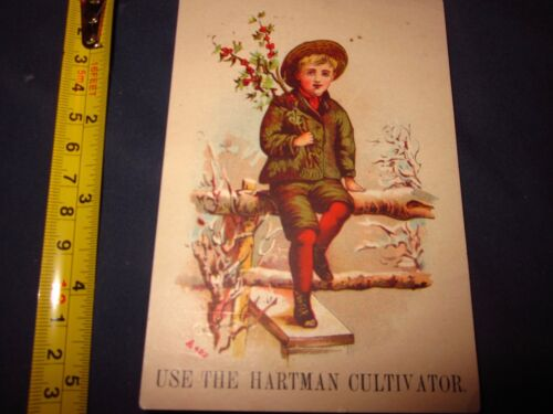Late 1800s Vintage Hartman Cultivator Advertising Promotional Card