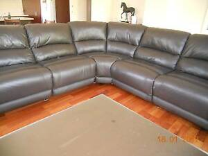 Nick Scali genuine leather 5 seat corner modular lounge brown Epping Whittlesea Area Preview
