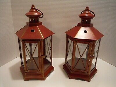SET OF 2 LARGE RED METAL 6 GLASS SIDE HANGING LANTERNS HINGED DOOR ANTIQUED LOOK Sided Hanging Lantern
